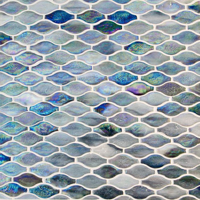 Blue Violet And Grey Color Wave Pattern Gl Mosaic