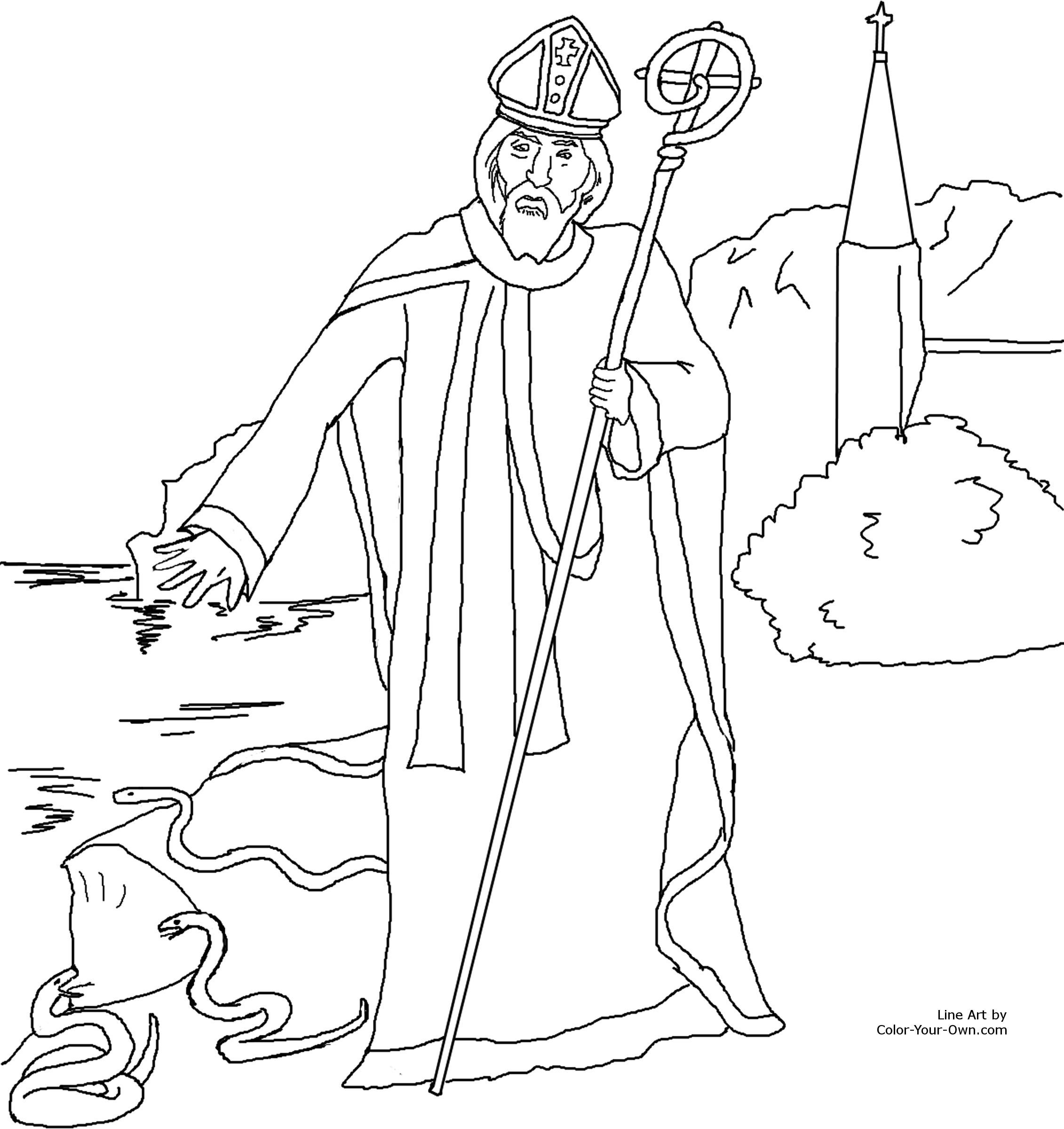 Saint Patrick Driving Out The Snakes Of Ireland Catholic Coloring