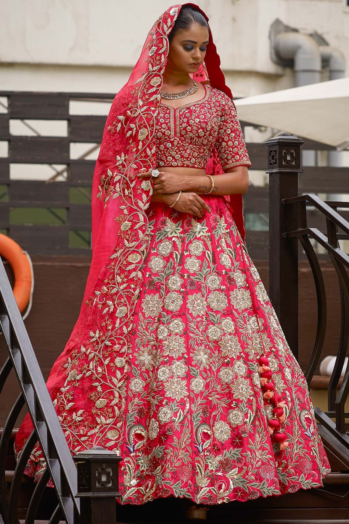 ec701422f11a Raspberry Pink Thread Embroidered Raw Silk Bridal Lehenga-GC2438