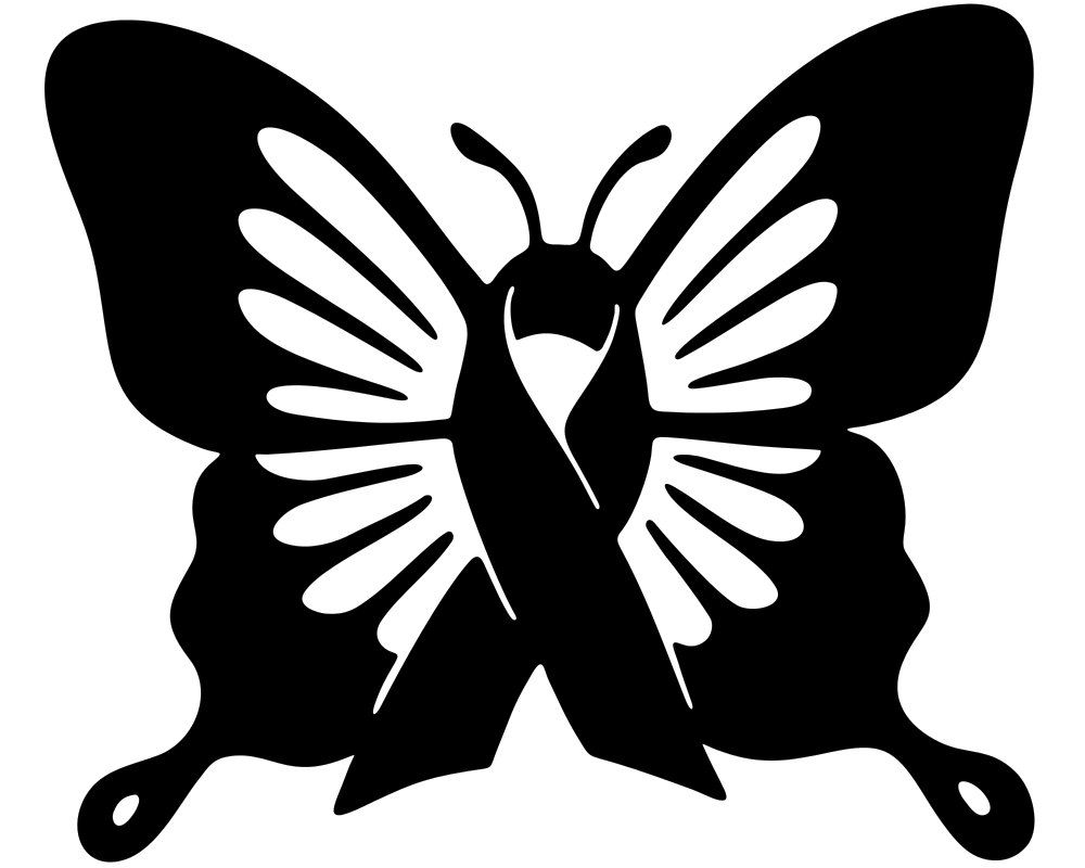 Butterfly Cancer Ribbon Vinyl Window Decal Stickers Wholesale - Butterfly vinyl decals
