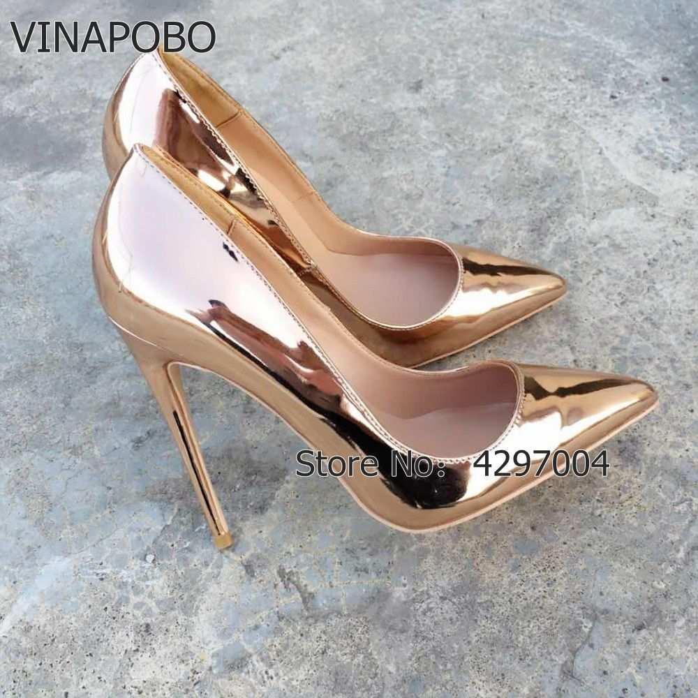 VINAPOBO Pointed Toe Gold high heels pumps Shoes Patent