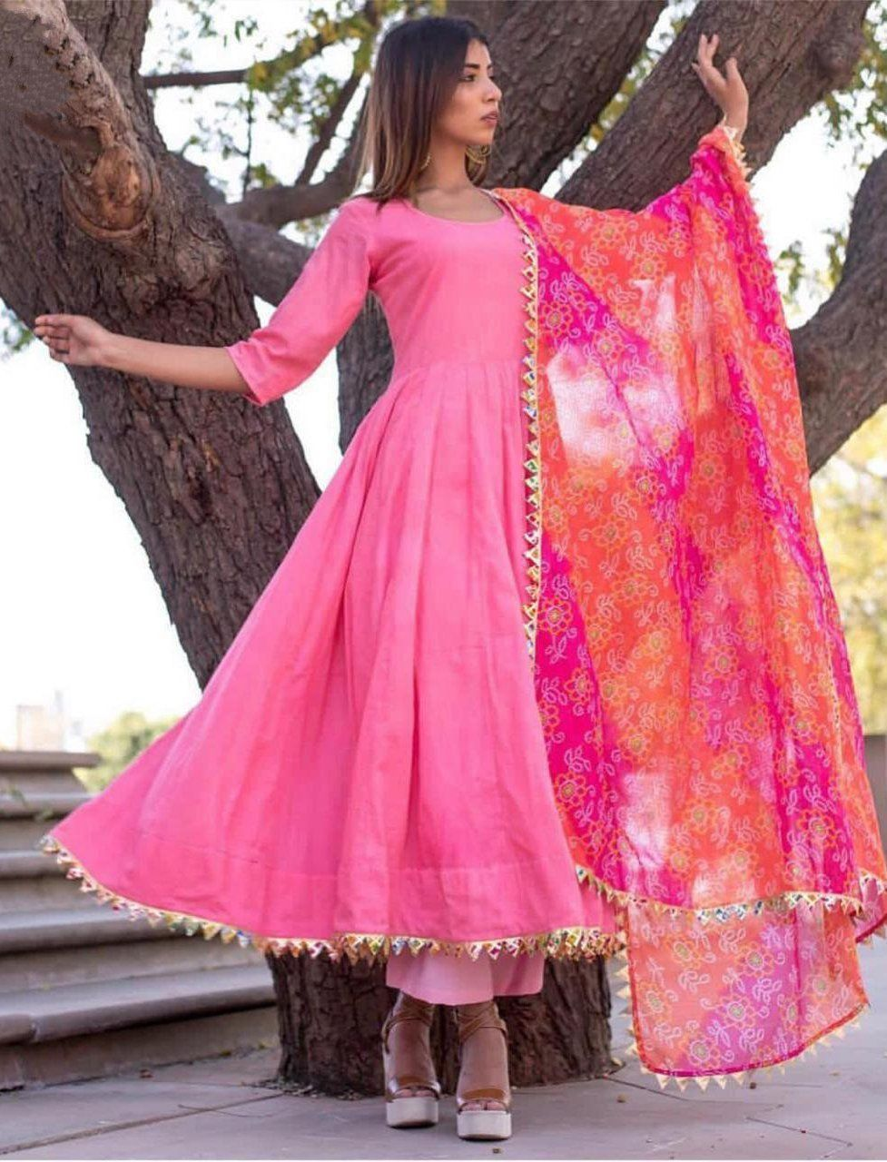 Readymade New Anarkali Suit Party Wear Stylish Pink Cotton Top Plazo Bottom Dres