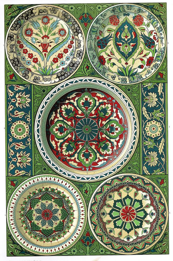 """Persian Pottery    Fayence (tin-glazed) plates and wall wainscot borders. """"Both the invariably flat treatment of the ornament and the prevalence of the natural imitation of flowers constitute the characteristic style of Persian decoration."""""""