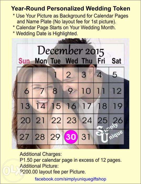 Personalized monthly Calendars for Wedding Souvenirs FREE Shipping