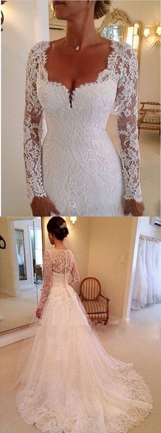 Elegant sweetheart long sleeves appliques lace wedding dresses