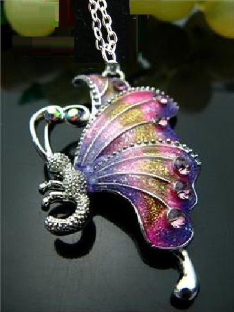 Crystal & Enamel Pink Rhinestone Butterfly Necklace - Free shipping $16.80