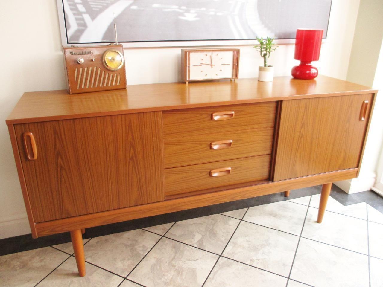 Vintage 70's Schreiber Retro Sideboard Unit Cabinet Teak Danish Midcentury  In Home, Furniture