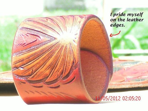 Hand tooled Pink cuff
