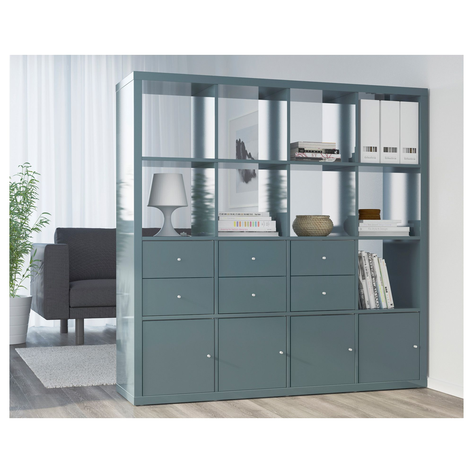 Kallax Shelving Unit High Gloss Grey Turquoise 147×147 Cm  # Customiser Tiroirs Et Portes Kallax
