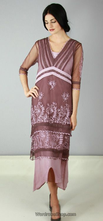 14108f51c63b8 Mauve Nataya Vintage Style Romantic Victorian Wedding Titanic Tea Lenght  Dress AL-5901 wardrobeshop.com