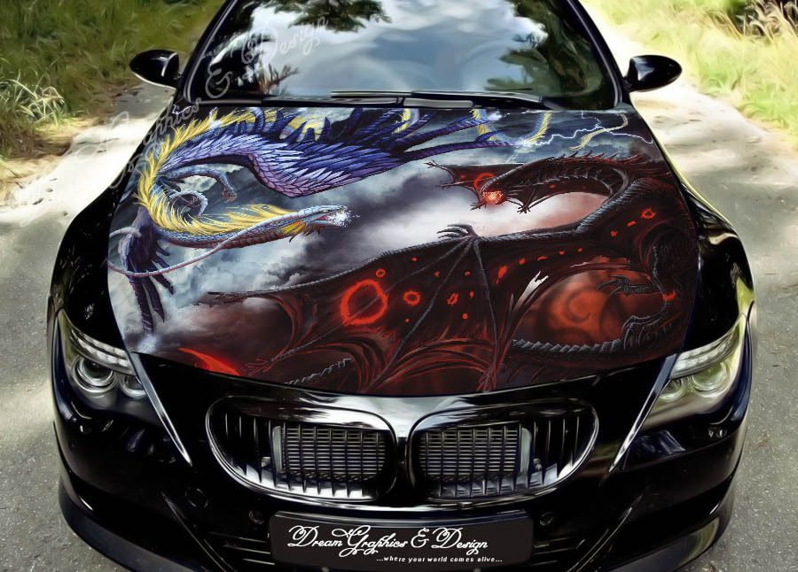 HOOD WRAP FULL COLOR PRINT VINYL DECAL FIT ANY CAR DRAGON - Custom vinyl decals for car hoodssoldier full color graphics adhesive vinyl sticker fit any car