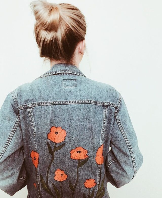 California poppy, custom denim jacket, orange poppy jeans jacket, painted …… – #painting …