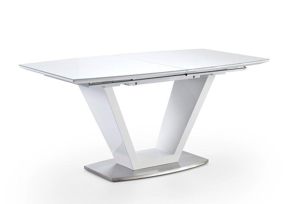 Esstisch ausziehbar Ilko Säulentisch mit Synchronauszug Weiß 20017