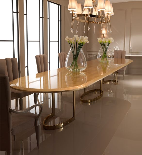 5m Large Designer Gold Oval Dining Table Oval Table Dining Dining Room Contemporary Modern Dining Room