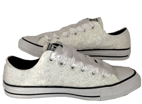 82070daa0c15 Womens Sparkly White or Ivory Glitter Converse All Stars Bride Wedding gift  Shoes Sneakers