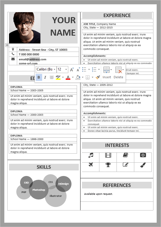 Well-organized, table-formatted and fully editable free resume template for  Word