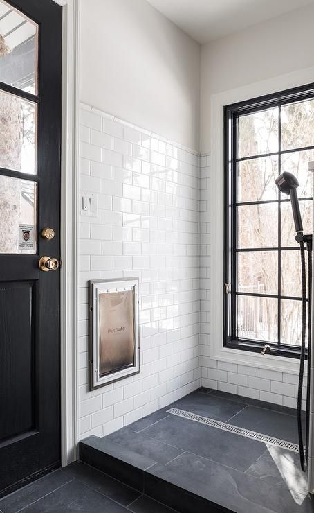 Black And White Dog Shower In A Contemporary Mudroom With