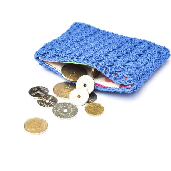 Crocheted purse  blue credit card purse coin purse by joyofmotion, $25.00