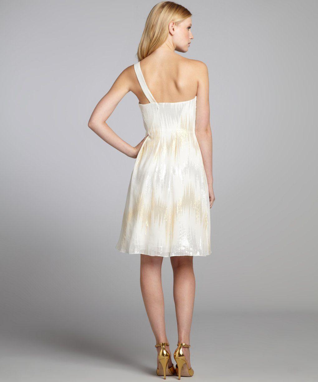 Kay Ungerivory and metallic chiffon one shoulder goddess cocktail dress | BLUEFLY up to 70% off designer brands
