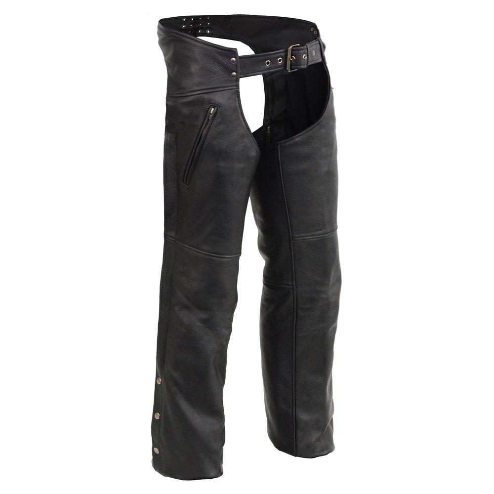 Milwaukee Leather Mens Half Chaps With Back Zipper Black, Medium