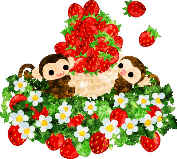 フリーのイラスト素材 イチゴ狩りを楽しむ可愛いお猿さん Free Illustration フード イラスト イラスト 絵本イラスト
