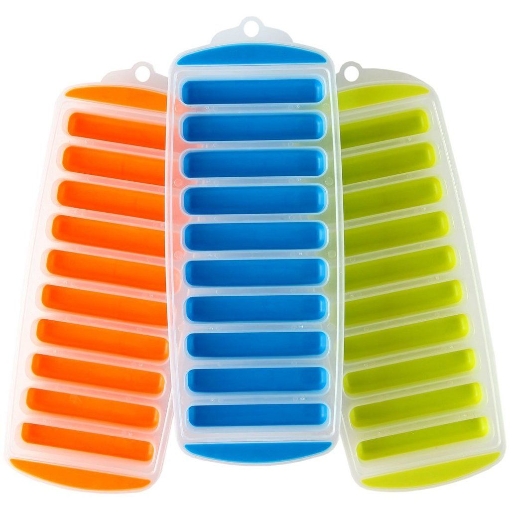 Juice Bottles Water Bottle Ice Stick Trays Ideal for Cocktail Parties Water Bottles Assorted Colors 3 Pack - Rectangular BPA Free Flexible 10 Silicone Ice Molds