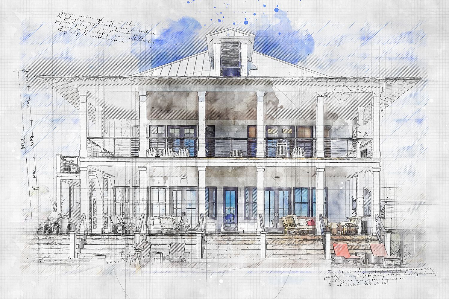 Animated Architecture Sketch And Blueprint Photoshop Action In