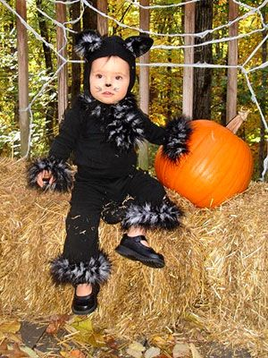 black t-shirt black leggings and a black boa cut into 5 pieces for. Black Cat CostumesCat Halloween ...  sc 1 st  Pinterest & 21 Halloween Costumes Made by Real Moms | Black kitty Halloween ...