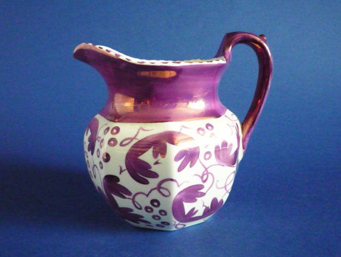 Wedgwood Purple Lustre 'Grapevine' Octagonal Jug c1940