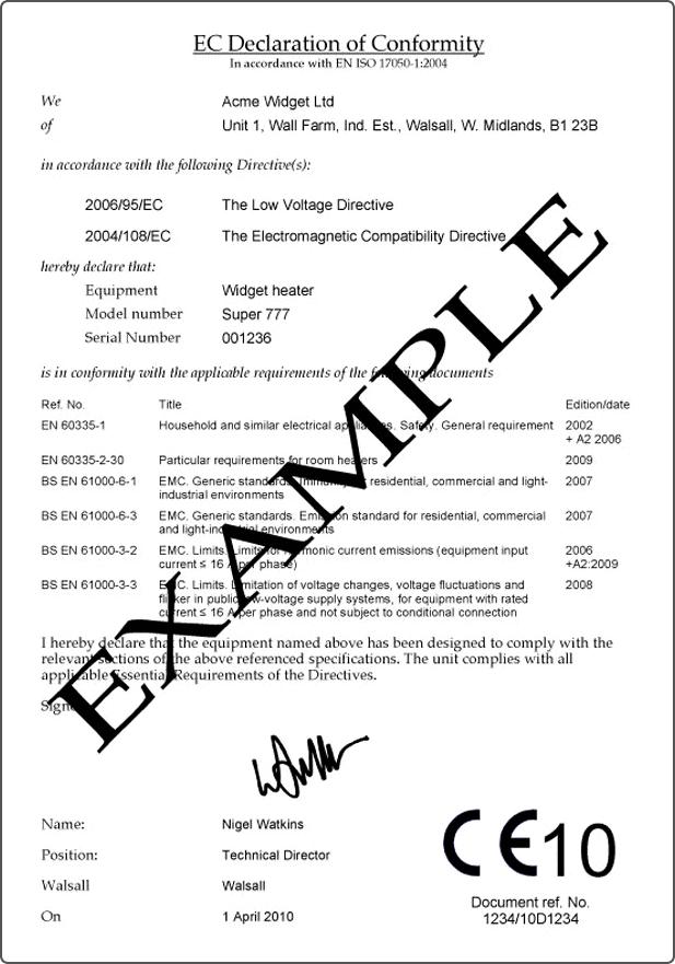 Declaration of Conformity Decleration of Conformity – Conformity Certificate Template