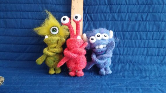 Wool Toys Monster Trio 3 Needle Felted Toy by WildWhimsicalNature