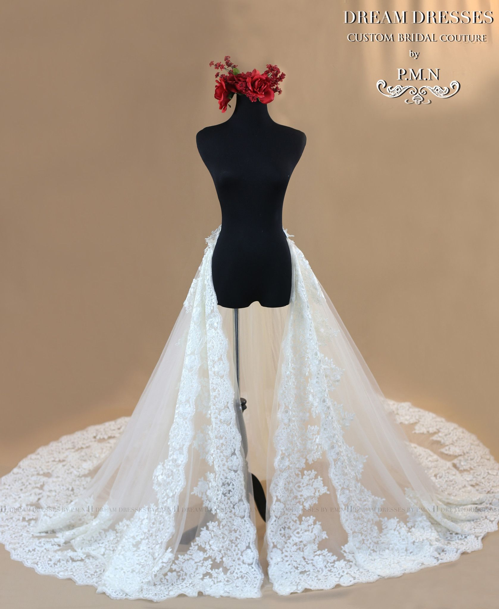 Bridal Detachable Cathedral Train With Two Layer Lace Trim