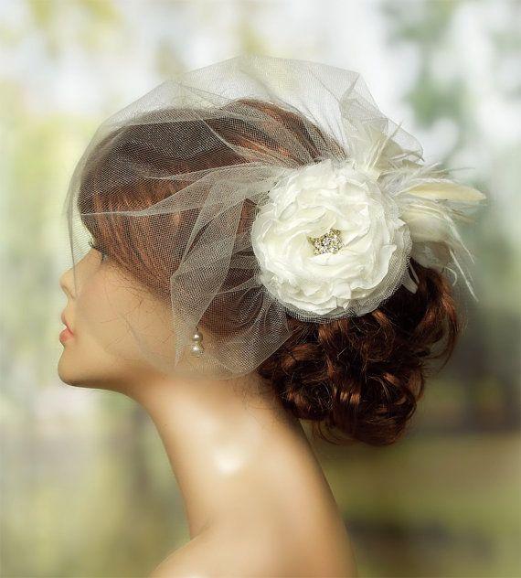 Tulle Wedding Veil Wedding Hairstyles Bridal by BeHappyWedding
