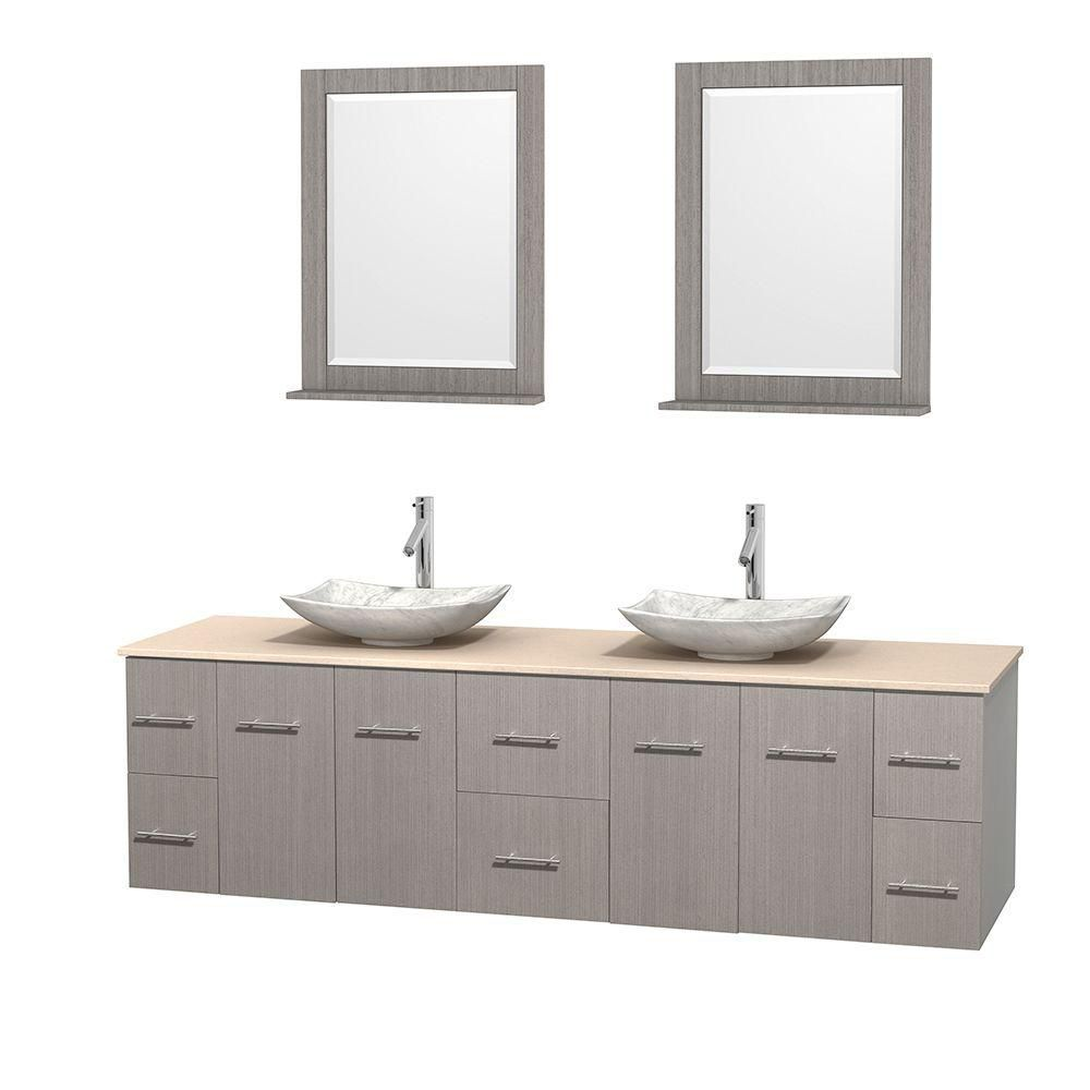 Centra 80 Inch W 6 Drawer 4 Door Wall Mounted Vanity In Grey With
