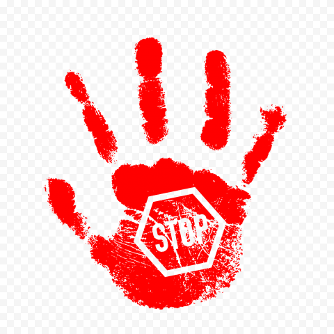 Hd Red Hand Print With Stop Sign Png Stop Sign Print Signs