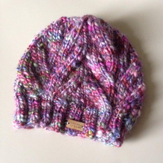Fall Beanie - Handmade Purple Beanie - Multi Colour Hand Knit Beanie -
