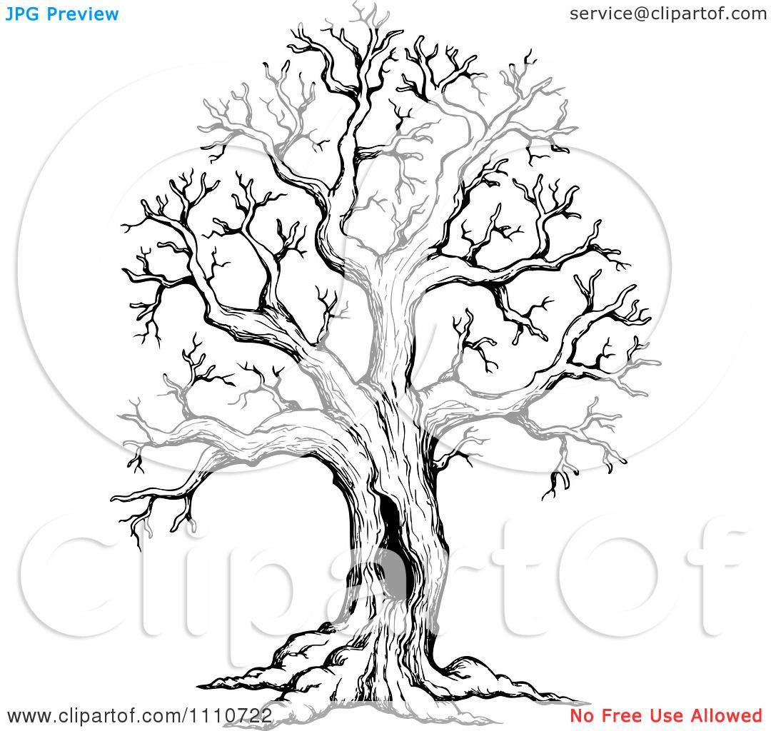 Clipart Black And White Sketched Hollow Bare Tree