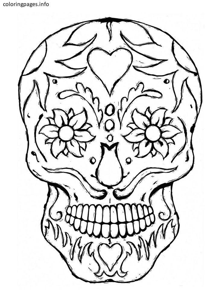 Mexican Sugar Skull Coloring Pages | Sugar Skull Coloring Pages ...