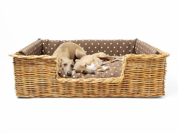 Dressed Rattan Dog Basket - Natural - Dotty Chocolate (large size)