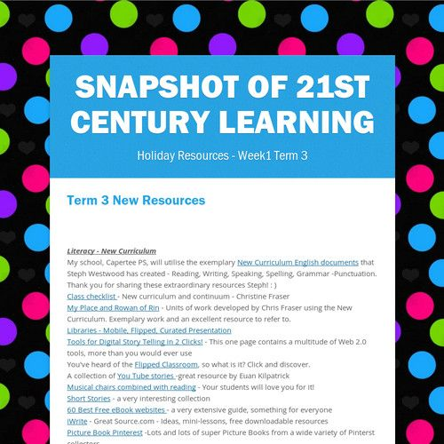 Shelley Tancread's Snapshop of 21st Century Learning
