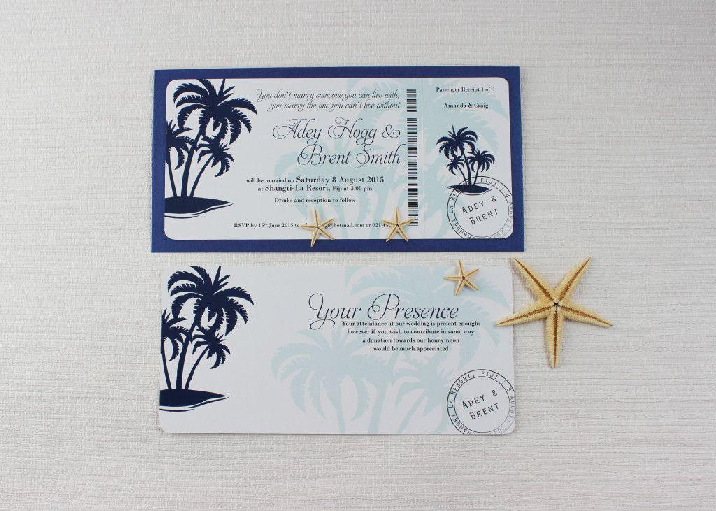 Tropical Paradise: Navy Boarding pass wedding invitation | Boarding ...