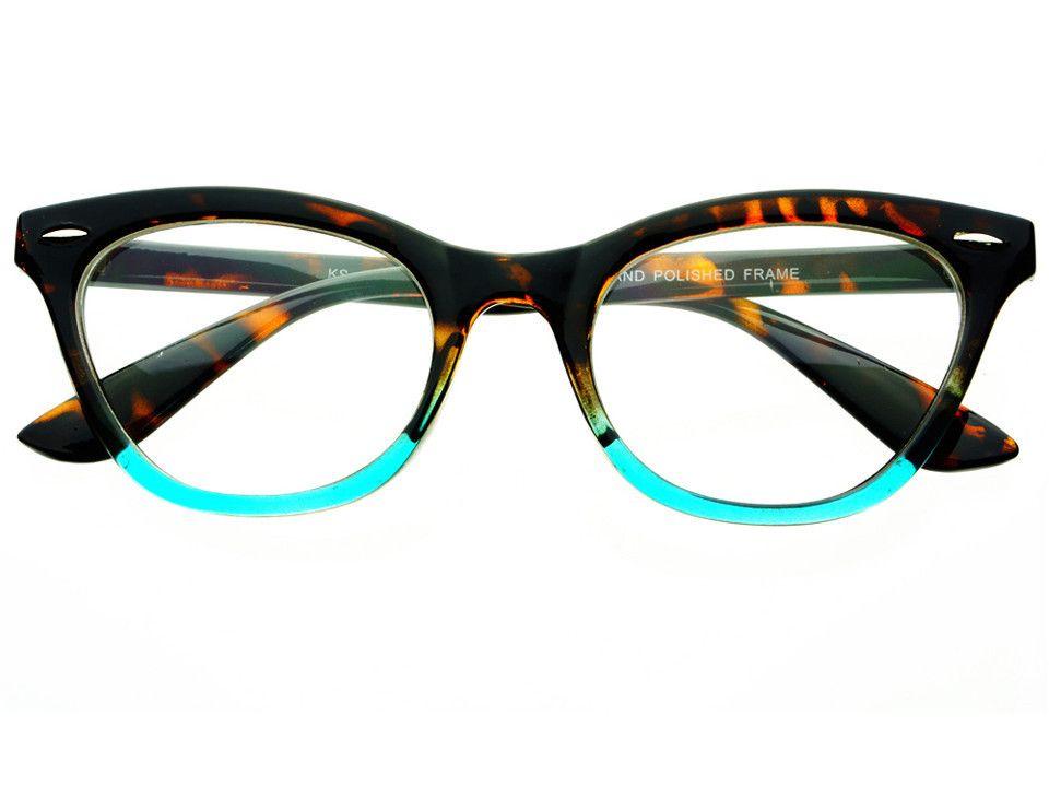 Womens Vintage Clear Lens Cat Eye Glasses Frames Tortoise Teal C591 ...