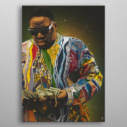 Biggie Metal Poster Poster prints, Artwork, Tupac art