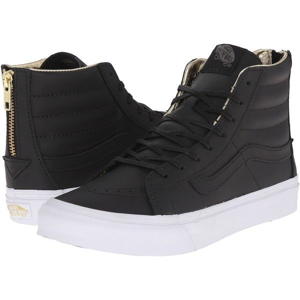 7ab75ff49439 Vans SK8-Hi Slim Zip Black Gold) Skate Shoes