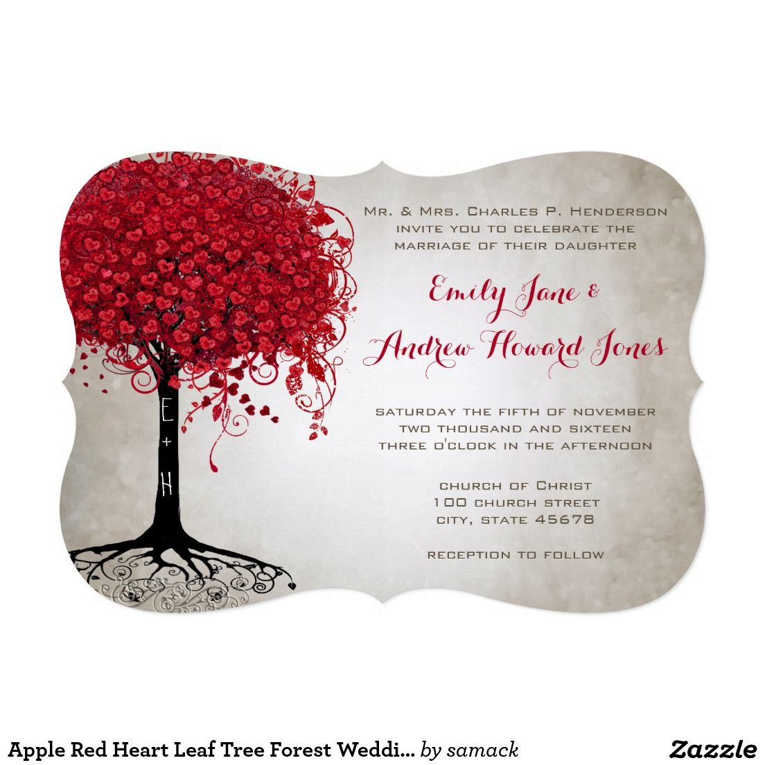 Apple Red Heart Leaf Tree Forest Wedding Invitation | Business Cards ...
