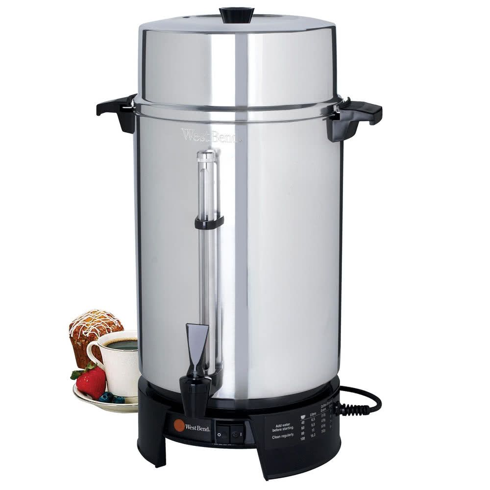 West Bend 58010v Commercial 100 Cup Aluminum Coffee Maker 220v International Use Only Coffee Set Coffee Site Commercial Coffee Machines