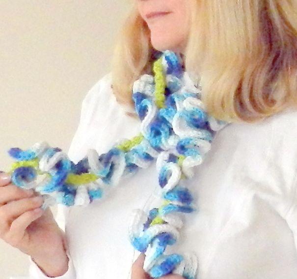 Fun crocheted scarf. Mutli colors.