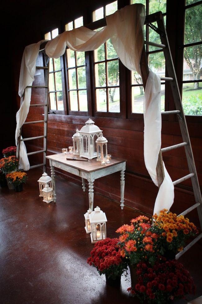 Garden Party Themed Wedding Ladder Altar Decor Inside
