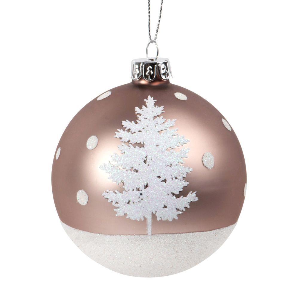 Weihnachtskugel Aus Glas Braun Mit Weissem Glitzer Und Tannenmotiv Maisons Du Monde Weihnachtskugeln Glas Weihnachtskugeln Kugel