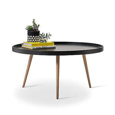 Black Round Scandinavian Tray Coffee Table Retro Modern Design W